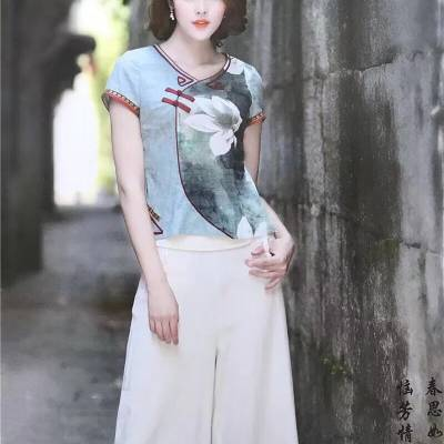 漓月风19夏装 名族风连衣裙旗袍品牌女装折扣走份批发