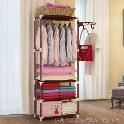 约宽60cm多功能落地衣帽架浴室客厅挂衣架简易布衣柜防水经济型
