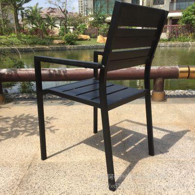 塑木咖啡厅桌椅商业街奶茶桌椅休闲可重叠桌椅
