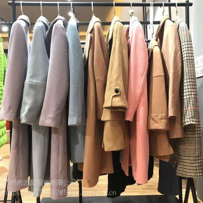 品牌女装折扣货源朗珂冬季女装大衣批发尾货
