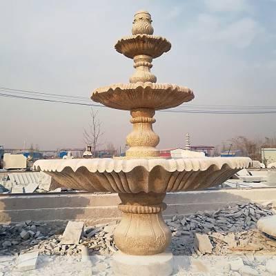 石雕喷泉大型欧式水池流水三层花岗岩喷泉户外景观装饰风水雕塑摆件曲阳万洋雕刻厂家定做