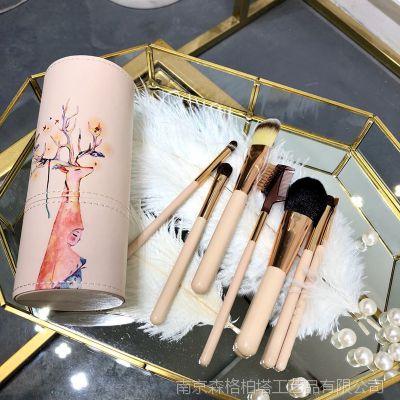 7支鹿女孩化妆套刷 桶装套刷 美妆工具全套刷子 3184
