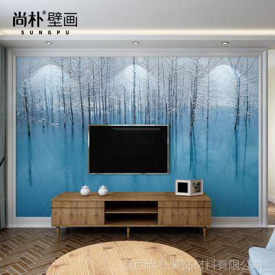 无缝大型壁画 客厅卧室风景电视背景墙纸3d无纺布壁纸墙布白桦树