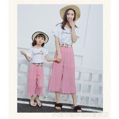亲子装夏季套装2018新款韩版潮女童短袖T恤雪纺阔腿裤母女两件套