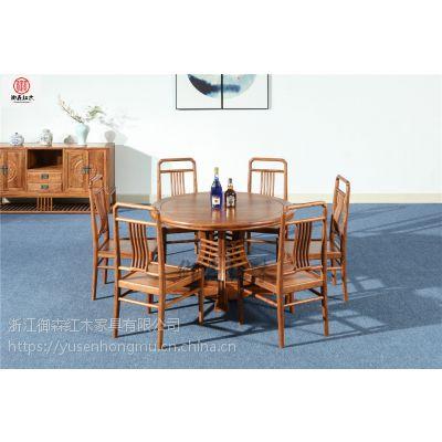 刺猬紫檀圆台7件套-花梨木餐桌-红木家具-古典中式