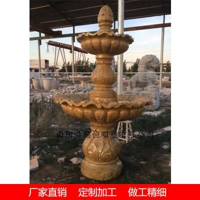 黄金麻水钵厂家石雕喷泉花岗岩欧式跌水钵定制
