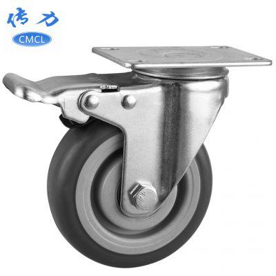 传力5寸tpr刹车脚轮 直径125灰色静音万向轮工装车轮子 M00553