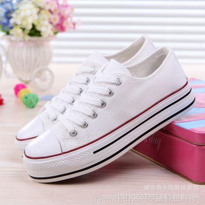 富步厂家批发代理R01韩版厚底松糕帆布鞋增高学生鞋硫化鞋胶鞋