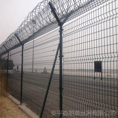 安平朋英实体厂家供应 机场防护隔离网 浸塑低碳钢丝Y型柱安全围栏网