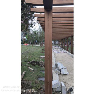 安康木纹漆施工景区镀锌方通廊架仿木纹漆施工 硬度高不脱落不开裂
