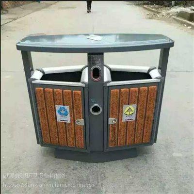 摇摆式户外钢木垃圾桶分类双桶垃圾桶生产厂家批发