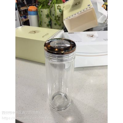 西安圣以诺水杯专卖 高档圣以诺高山流水双透硼硅玻璃杯刻字