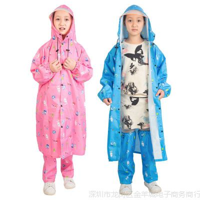 儿童雨衣带书包位男童女童 小孩子小学生中大童雨衣 雨衣雨裤套装