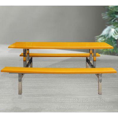 来图定制学生工厂玻璃钢食堂餐桌/2.4米圆凳连体餐桌椅图片/现代简约