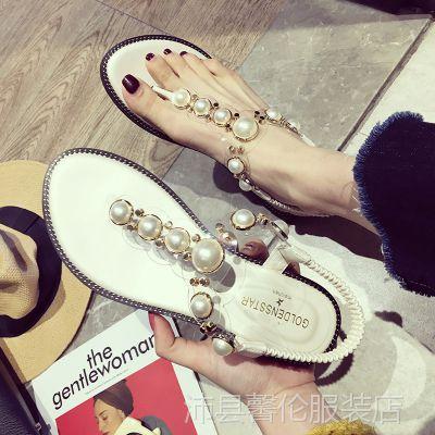 珍珠凉鞋女夏平底2018新款韩版时尚百搭夹脚平跟罗马波西米亚鞋子