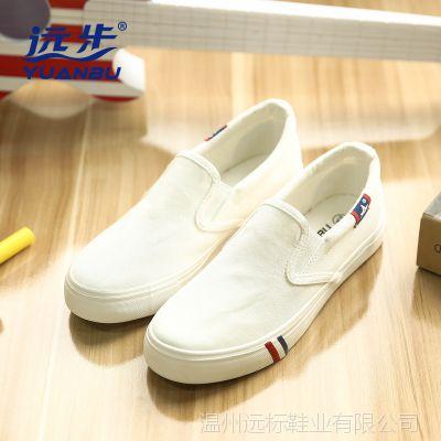 远步春秋季一脚蹬懒人女鞋夏帆布鞋女韩版学生运动休闲板鞋白布鞋
