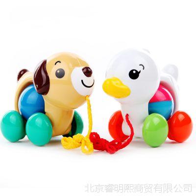 日本皇室玩具 早教手拉小狗 宝宝拖拉学步玩具带摇铃 TR709