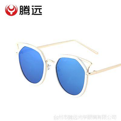 2017新品上新太阳镜女墨镜不规则太阳眼镜 猫耳镂空眼镜2261