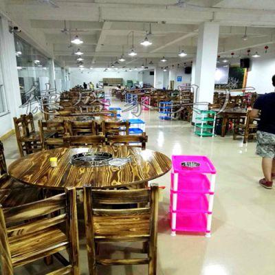 德盛家具厂专业生产农庄专用碳烧台 实木火锅桌 现代中式酒店餐桌椅