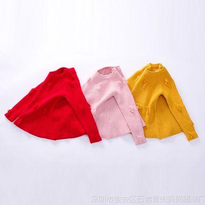 1328H 秋冬新款儿童纯色打底外穿圆领针织毛线衣 女童宝宝毛衣