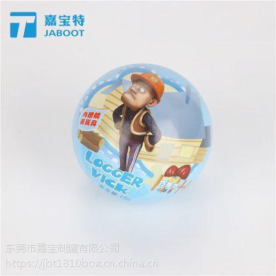 糖果玩具球形铁罐圣诞礼物球罐马口铁罐巧克力豆卡通动漫卡片球罐