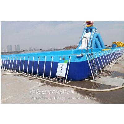 支架式水池适合夏季游泳吗 装水一米高的支架水池报价 钢架泳池搭配水滑梯价位