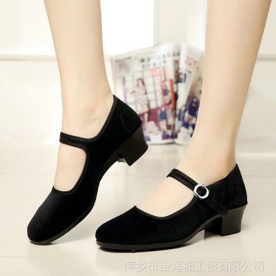 厂家直销女单鞋低帮浅口平跟黑色绒面酒店宾馆礼仪工作鞋一件代发