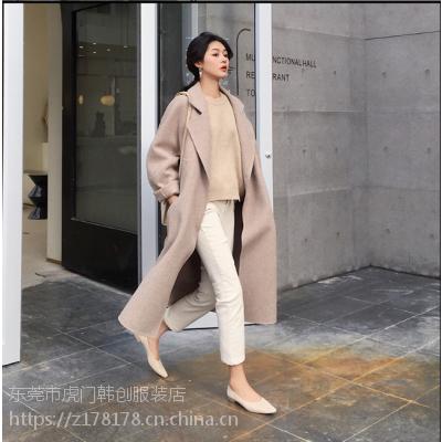 江苏双面羊毛呢大衣女外套中长款2018新款韩版秋冬毛呢外套修身羊绒呢子大衣