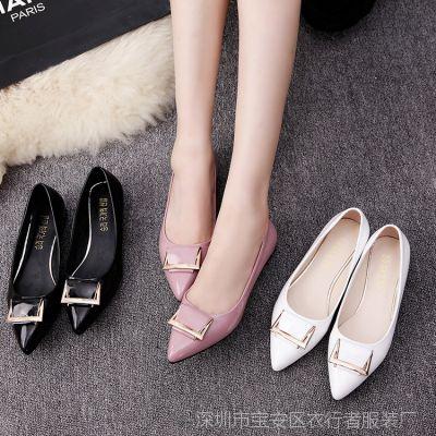 夏季新款尖头平底休闲鞋女单鞋浅口方扣低跟大码粉色豆豆鞋工作鞋