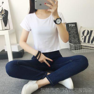 2018夏装短款圆领露肚脐短袖T恤女修身纯色打底衫女学生上衣批发