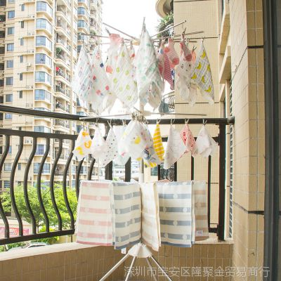 不锈钢婴儿晾衣架宝宝尿布架落地折叠室内儿童毛巾阳台多功能衣架