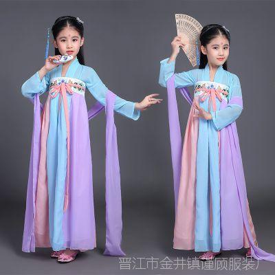 演出儿童演出服装古装古代宫女唐朝女童古典齐胸襦裙儿童礼服集体