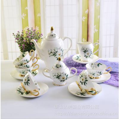 达美瓷业批发欧式茶具套装 陶瓷木棉花下午茶茶具 骨瓷咖啡具套装定制