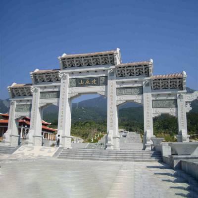 雕刻精美的石牌坊 石头大门 中国古典建筑