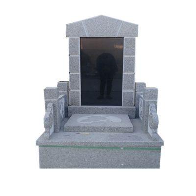 黑色花岗岩墓碑 大理石墓碑 丰路石雕围栏家族墓碑