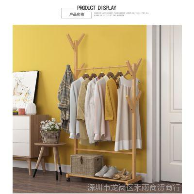 卧室衣帽架带滚轮可移动落地置物架多层实木简约现代加厚收纳衣架