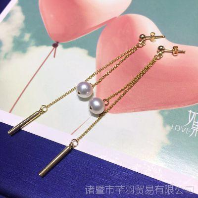 天然珍珠饰品 新款时尚百搭淡水珍珠棒棒款耳线 个性长款耳线耳饰