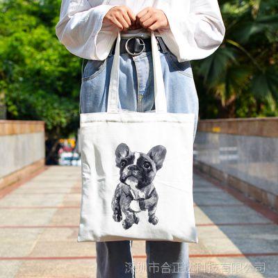 八哥犬帆布包可爱动物手提袋简约百搭女单肩包环保购物袋学生书包