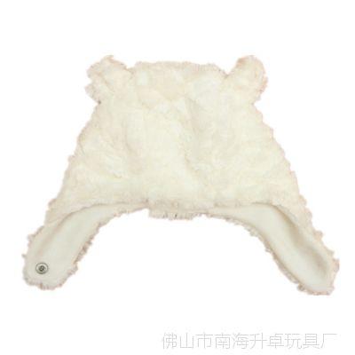 厂家供婴儿配饰秋冬毛绒长边系带毛绒卡通动物熊仔耳朵可爱宝宝帽