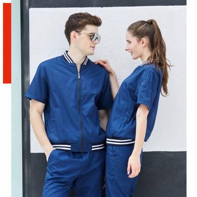 蓝色时尚罗纹领拉链式工作服