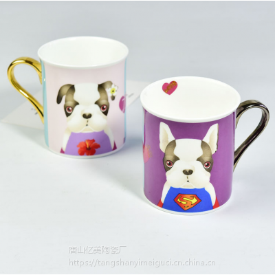 唐山瓷亿美 批发陶瓷水杯 创意包金把反口骨瓷咖啡杯情侣广告礼品杯定制LOGO