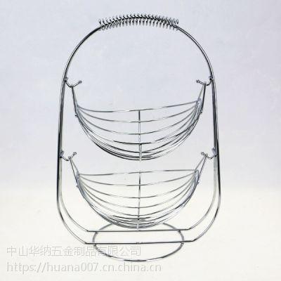 工厂直销美观造型设计小双船摇摆篮食物水果置物篮铁线篮金属水果篮