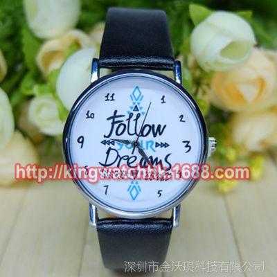 速卖通ebay爆款 Follow  your Dream 皮带手表 男女中性手表