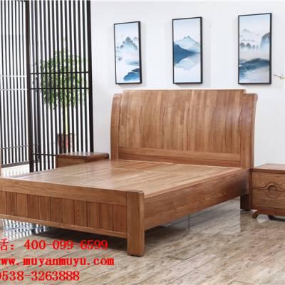 供应泰安木言木语中式大床双人床1.8米 主卧简约现代实木床