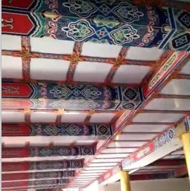 盛古装饰古建寺庙吊顶材料PVC办公室藏式扣板天花