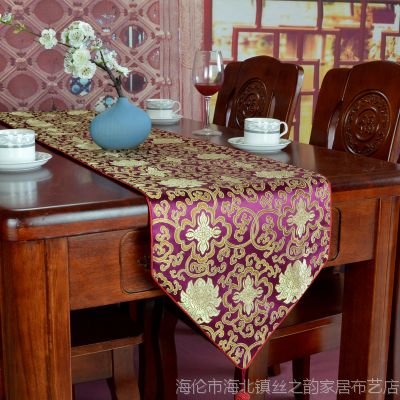 桌旗 中式丝绸桌旗/床旗/茶几旗可定制