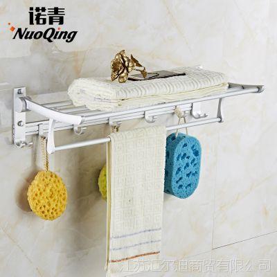 免打孔卫浴毛巾架太空铝卫生间毛巾杆浴室五金折叠置物架浴巾架