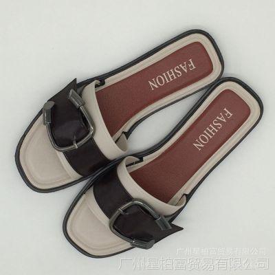 2018时尚拖鞋女夏韩版牛角皮带扣平底鞋防滑沙滩舒适百搭一字凉鞋