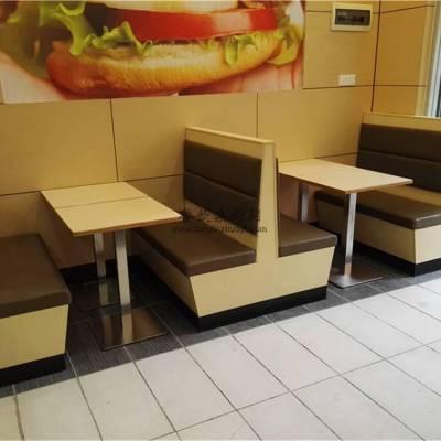 贵阳汉堡店卡座沙发桌子定做,板式卡座沙发直销商