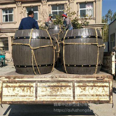 济南章丘水泥混凝土花箱 新型花箱厂家水泥仿木园艺类花桶批发